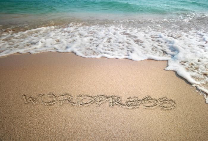 Ho scritto WordPress sulla sabbia